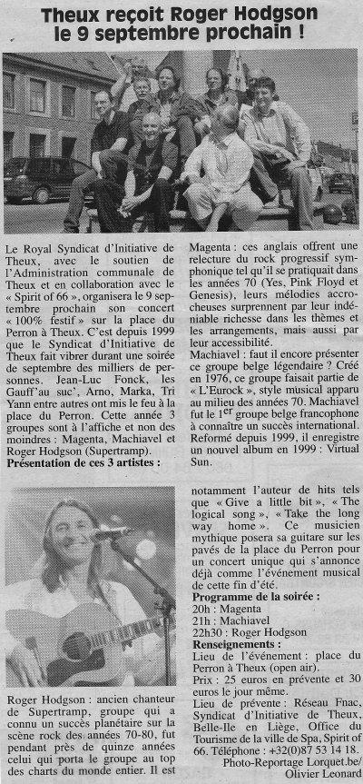 Theux reçoit Roger Hodgson le 9 septembre prochain !