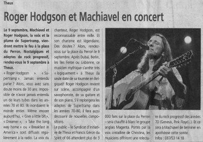 Roger Hodgson et Machiavel en concert
